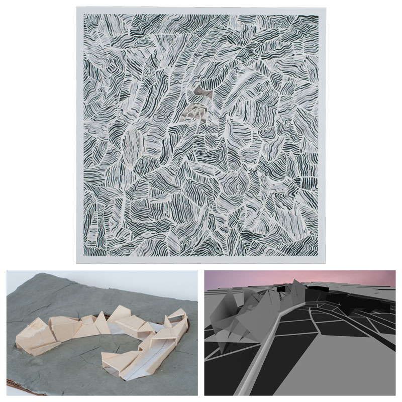 site topography grey painting